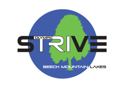 This is a logo for the strive triathlon. It's blue with a green tree and the word tri inside strive is a different color