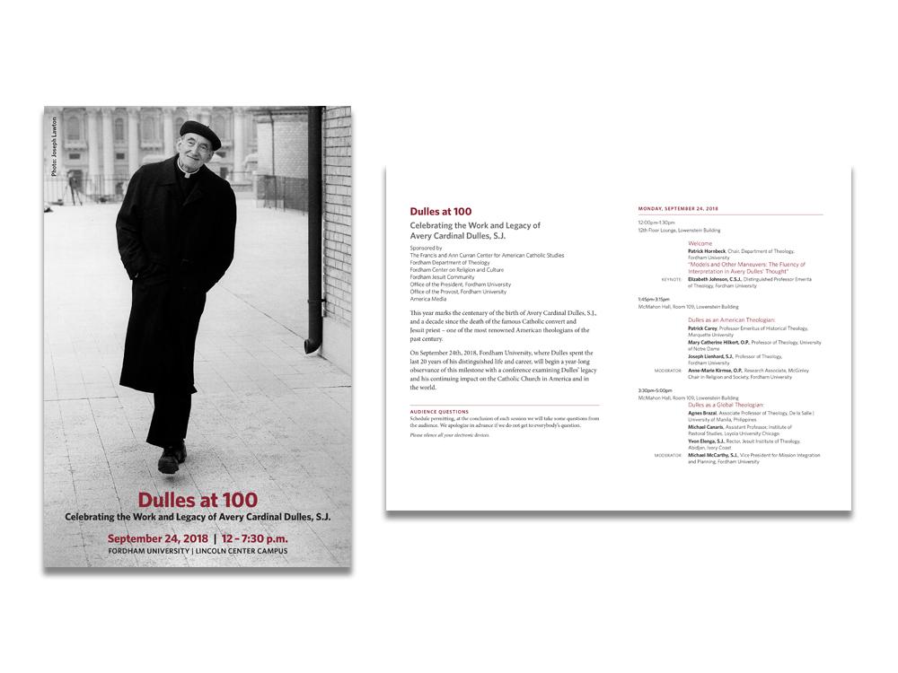 Program for Event celebrating Cardinal Dulles' life