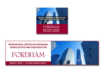 Web banner ads for Real Estate Insitute at Fordham